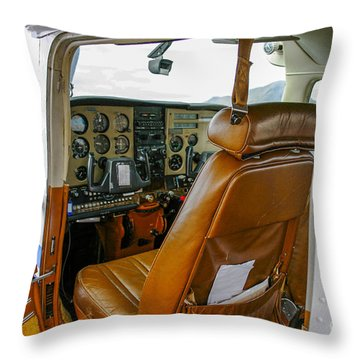 inside a small Cesna Throw Pillow by Patricia Hofmeester