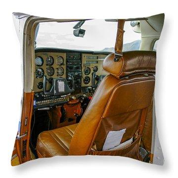 inside a small Cesna Throw Pillow