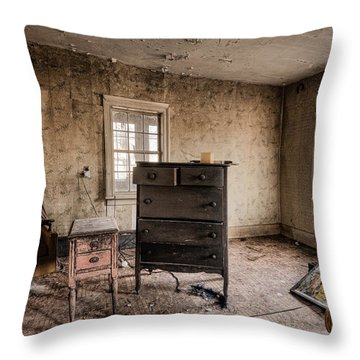 Inside Abandoned House Photos - Old Room - Life Long Gone Throw Pillow by Gary Heller