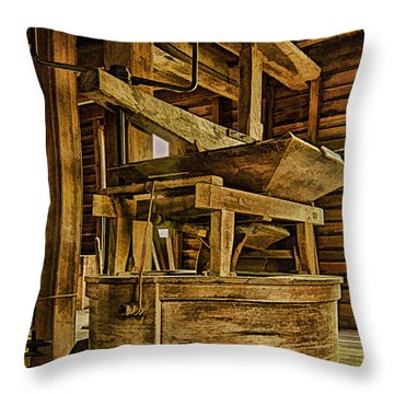 Inside Mingus Grist Mill Throw Pillow