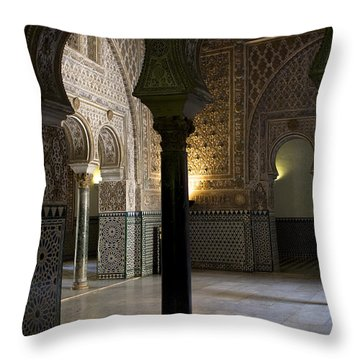 Inside The Alcazar Of Seville Throw Pillow by Lorraine Devon Wilke