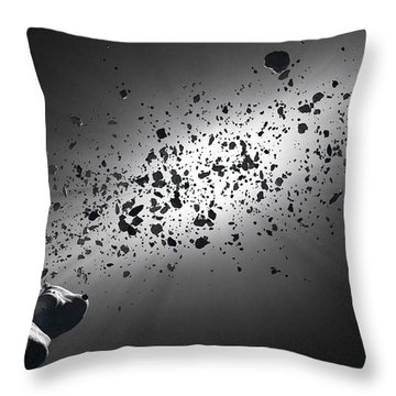 Inside The Asteroid Belt Against The Sun Throw Pillow