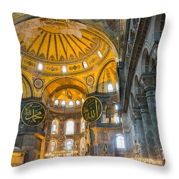 Inside The Hagia Sophia Istanbul Throw Pillow