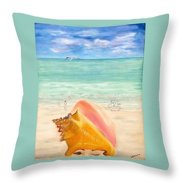 Inside The Head Of A Conch Woman Throw Pillow