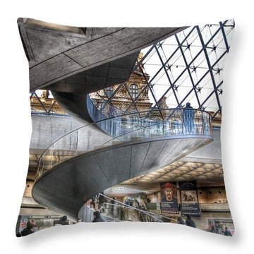 Inside The Louvre Museum In Paris Throw Pillow