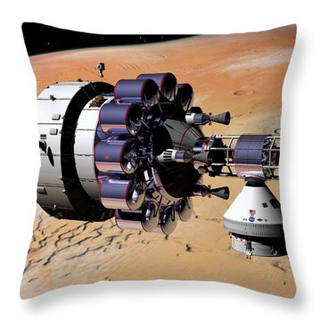 Inspection Over Mars Throw Pillow
