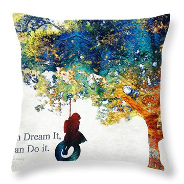 Inspirational Art - You Can Do It - Sharon Cummings Throw Pillow