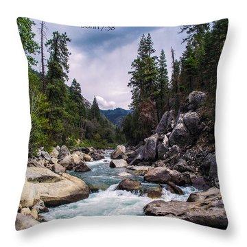 Inspirational Bible Scripture Emerald Flowing River Fine Art Original Photography Throw Pillow by Jerry Cowart