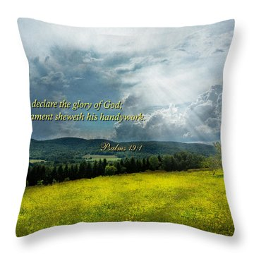 Inspirational - Eternal Hope - Psalms 19-1 Throw Pillow by Mike Savad