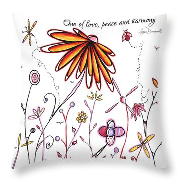 Inspirational Floral Ladybug Dragonfly Daisy Art With Uplifting Quote By Megan Duncanson Throw Pillow
