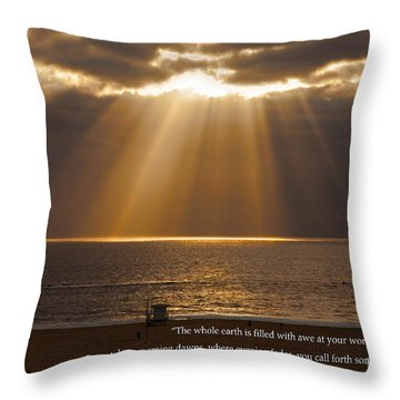 Inspirational Sun Rays Over Calm Ocean Clouds Bible Verse Photograph Throw Pillow by Jerry Cowart