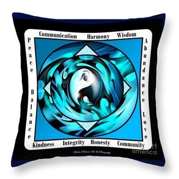 Inspirational Yin Yang  Throw Pillow by Bobbee Rickard