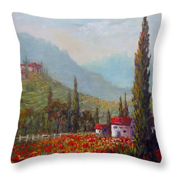 Inspired By Tuscany Throw Pillow by Lou Ann Bagnall