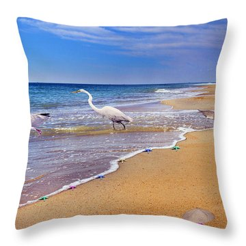 Inspiring Ibis Egret Sandpiper Starfish Sand Dollars  Throw Pillow