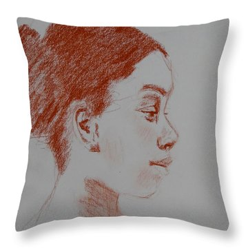 Intent Conte Sketch Throw Pillow by Carol Berning