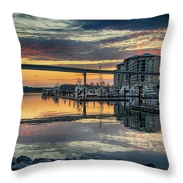 Intercoastal Waterway And The Wharf Throw Pillow