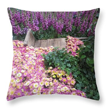 Throw Pillow featuring the photograph Interior Decorations Butterfly Gardens Vegas Golden Yellow Purple Flowers by Navin Joshi