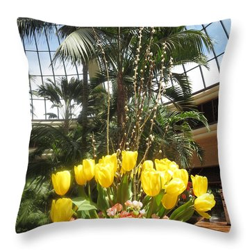 Throw Pillow featuring the photograph Interior Decorations Butterfly Gardens Vegas Golden Yellow Tulip Flowers by Navin Joshi