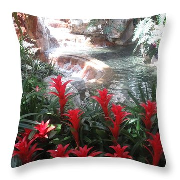 Throw Pillow featuring the photograph Interior Decorations Water Fall Flowers Lights Shades by Navin Joshi