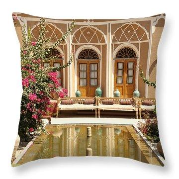 Interior Garden With Pond In Yazd Iran Throw Pillow