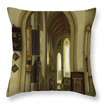 Interior Of A Church With Figures, 1685 Oil On Panel Throw Pillow