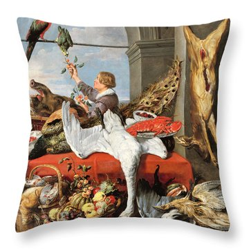 Interior Of An Office, Or Still Life With Game, Poultry And Fruit, C.1635 Oil On Canvas Throw Pillow