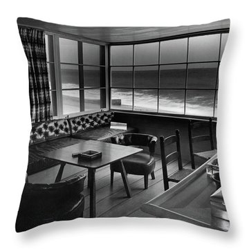 Interior Of Beach House Owned By Anatole Litvak Throw Pillow