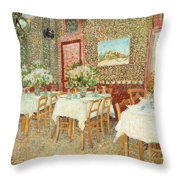 Interior Of Restaurant Throw Pillow by Vincent van Gogh