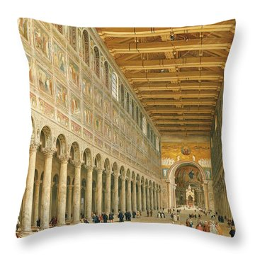 Interior Of San Paolo Fuori Le Mura Throw Pillow by Giovanni Paolo Panini