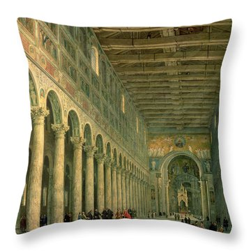 Interior Of The Church Of San Paolo Fuori Le Mura Throw Pillow by Giovanni Paolo Panini