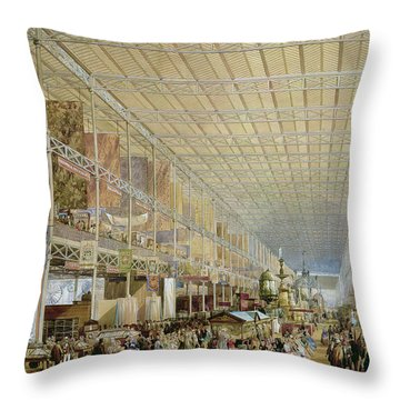 Interior Of The Great Exhibition Of All Throw Pillow by Edmund Walker