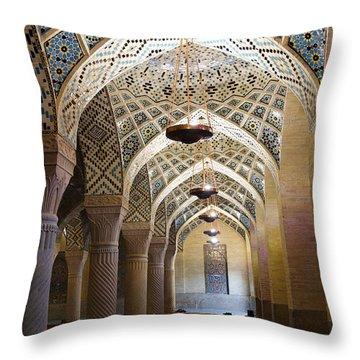 Interior Of The Winter Prayer Hall Of The Nazir Ul Mulk Mosque At Shiraz In Iran Throw Pillow by Robert Preston
