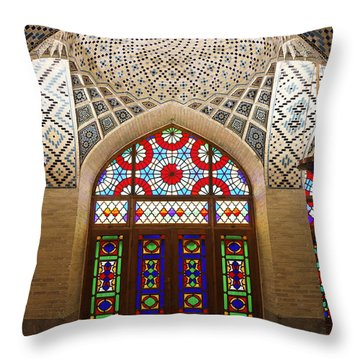 Interior Of The Winter Prayer Hall Of The Nazir Ul Mulk Mosque In Shiraz Iran Throw Pillow by Robert Preston
