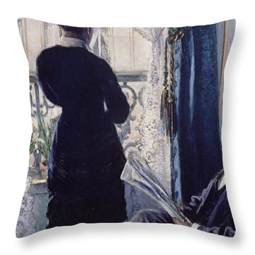 Interior Woman At The Window Throw Pillow by Gustave Caillebotte
