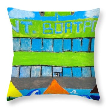 Throw Pillow featuring the painting International Boatport by Artists With Autism Inc