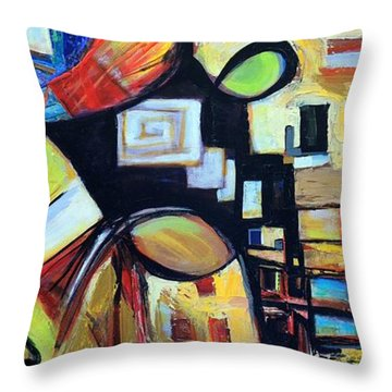 Throw Pillow featuring the painting Intersections by Mary Schiros