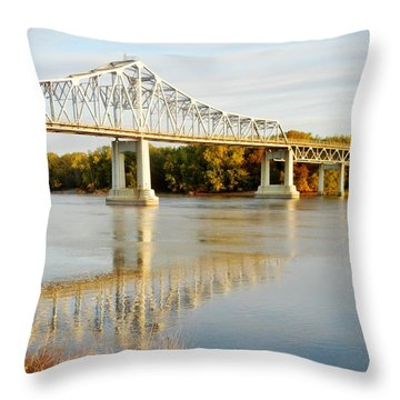 Interstate Bridge In Winona Throw Pillow