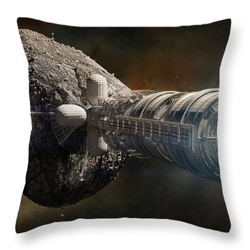 Throw Pillow featuring the digital art Interstellar Colony Maker by Bryan Versteeg