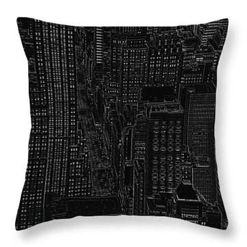 Into Nyc White On Black Throw Pillow by Meandering Photography