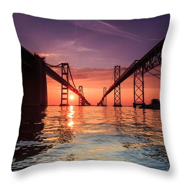 Into Sunrise - Bay Bridge Throw Pillow by Jennifer Casey