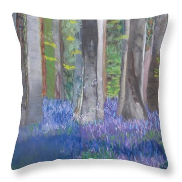 Into The Bluebell Wood Throw Pillow
