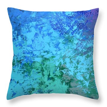 Throw Pillow featuring the painting Into The Deep Blue Sea by Linda Bailey