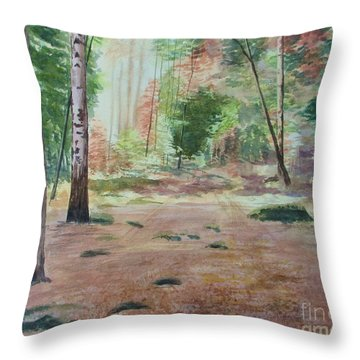 Throw Pillow featuring the painting Into The Forest by Martin Howard