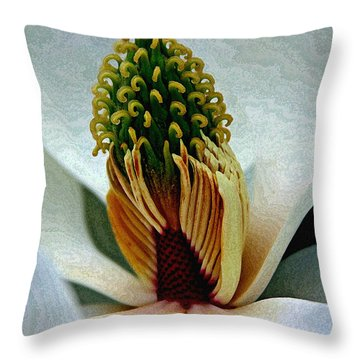 Into The Heart Of The Magnolia Drybrush Throw Pillow by Andy Lawless