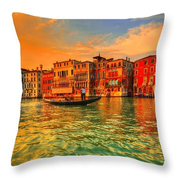 Into The Sunset Throw Pillow by Midori Chan