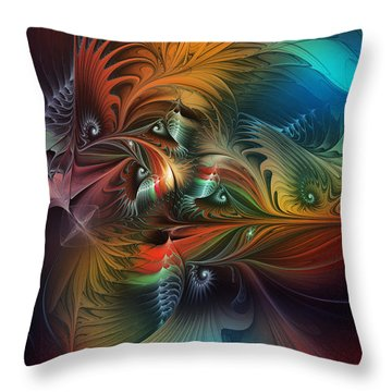Intricate Life Paths-abstract Art Throw Pillow