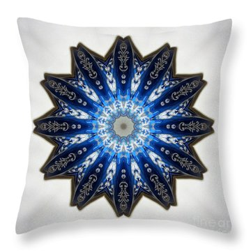 Intricate Shades Of Blue Throw Pillow by Renee Trenholm