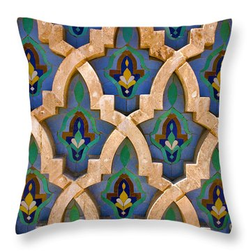 Intricate Zelji At The Hassan II Mosque Sour Jdid Casablanca Morocco Throw Pillow