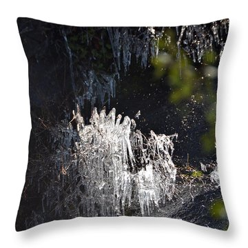 Intriguing Icicles In Yosemite Throw Pillow by Debra Thompson