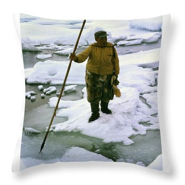 Throw Pillow featuring the photograph Inuit Seal Hunter Barrow Alaska July 1969 by California Views Mr Pat Hathaway Archives